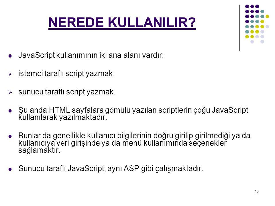 NEREDE KULLANILIR JavaScript kullanımının iki ana alanı vardır:
