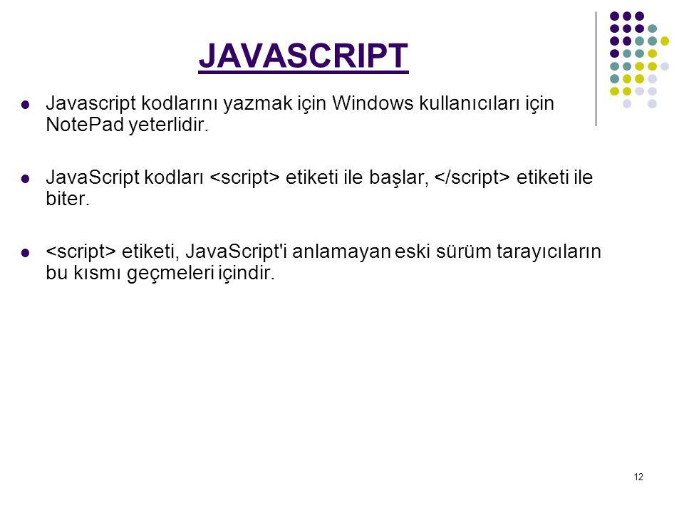 JAVASCRIPT Javascript kodlarını yazmak için Windows kullanıcıları için NotePad yeterlidir.