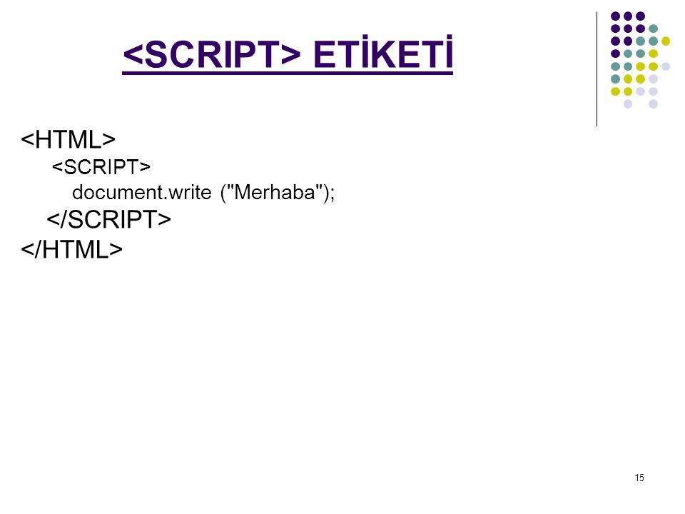 <SCRIPT> ETİKETİ