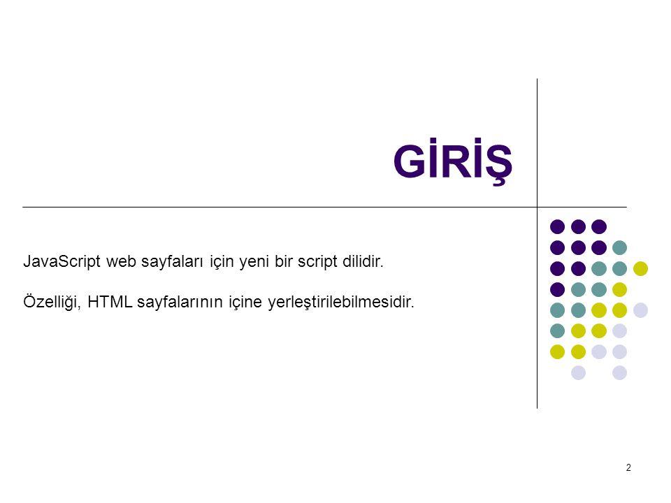 GİRİŞ JavaScript web sayfaları için yeni bir script dilidir.