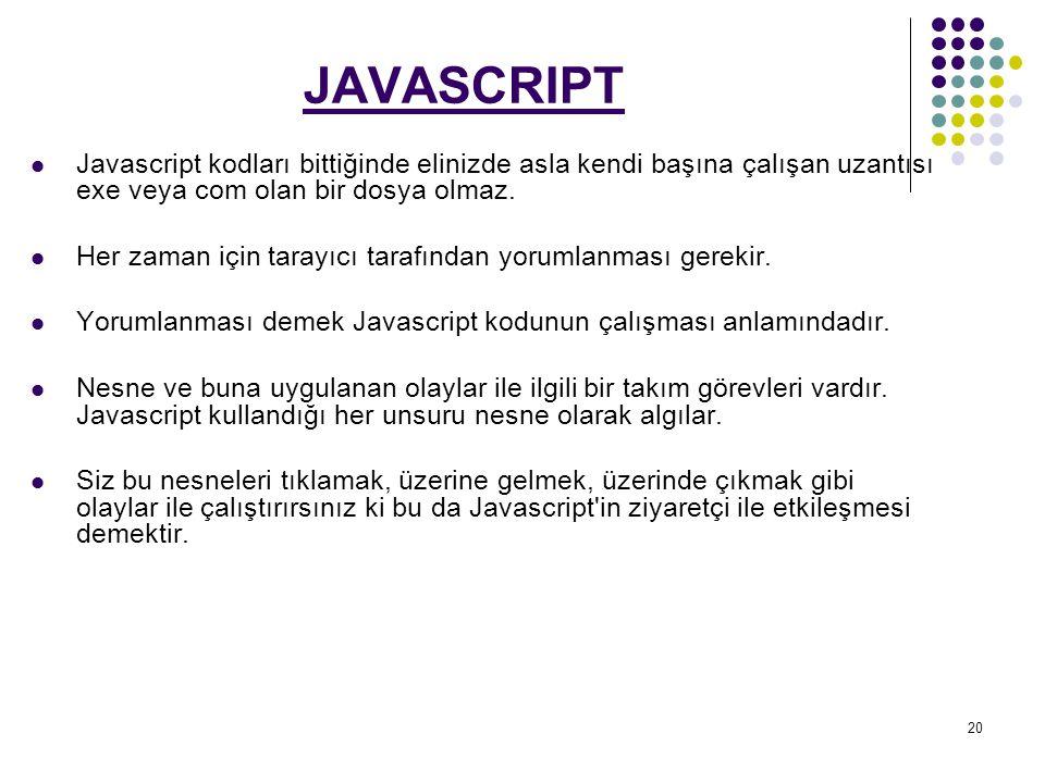 JAVASCRIPT Javascript kodları bittiğinde elinizde asla kendi başına çalışan uzantısı exe veya com olan bir dosya olmaz.