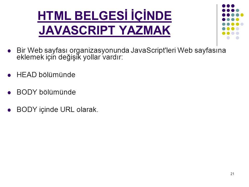 HTML BELGESİ İÇİNDE JAVASCRIPT YAZMAK