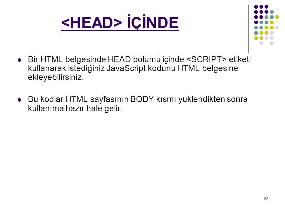 <HEAD> İÇİNDE Bir HTML belgesinde HEAD bölümü içinde <SCRIPT> etiketi kullanarak istediğiniz JavaScript kodunu HTML belgesine ekleyebilirsiniz.