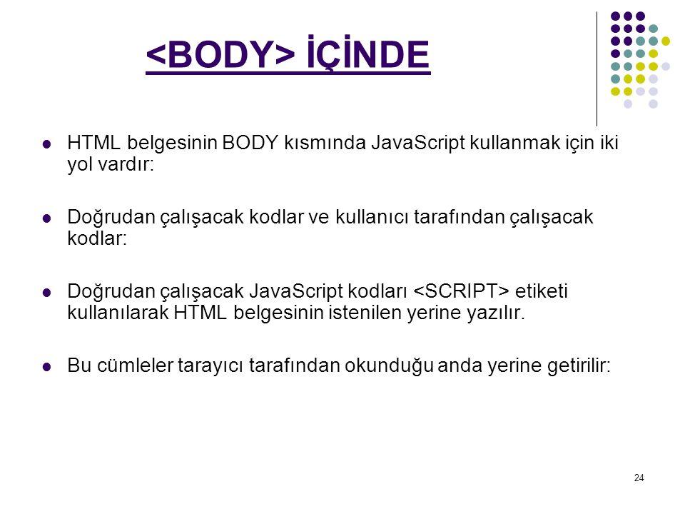 <BODY> İÇİNDE HTML belgesinin BODY kısmında JavaScript kullanmak için iki yol vardır: