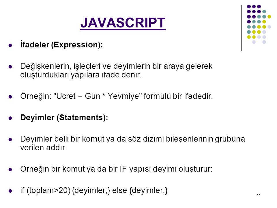 JAVASCRIPT İfadeler (Expression):