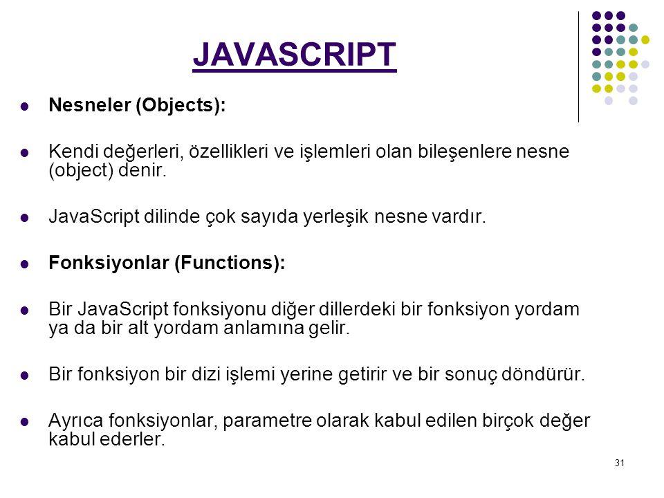 JAVASCRIPT Nesneler (Objects):