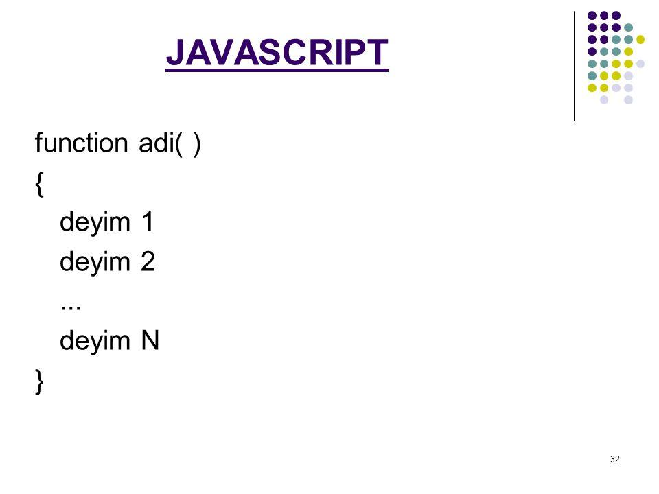 JAVASCRIPT function adi( ) { deyim 1 deyim 2 ... deyim N }