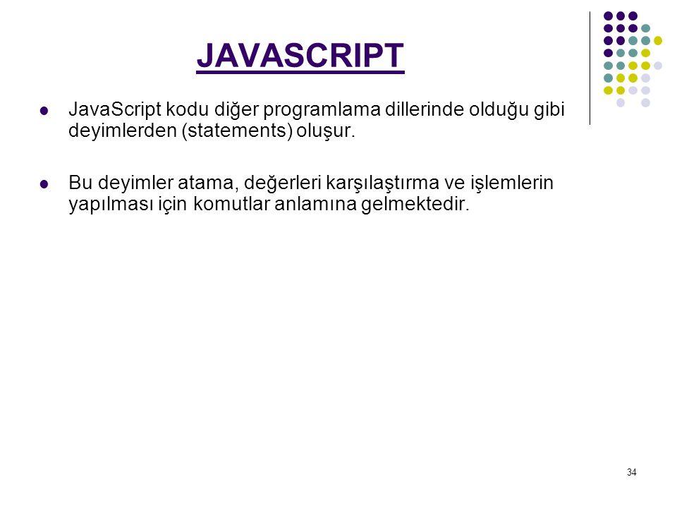 JAVASCRIPT JavaScript kodu diğer programlama dillerinde olduğu gibi deyimlerden (statements) oluşur.