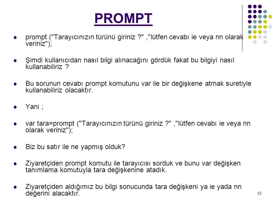 PROMPT prompt ( Tarayıcınızın türünü giriniz , lütfen cevabı ie veya nn olarak veriniz );