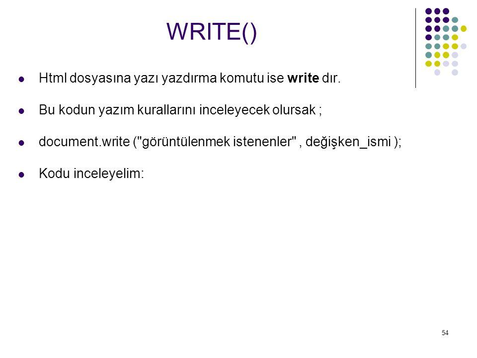 WRITE() Html dosyasına yazı yazdırma komutu ise write dır.