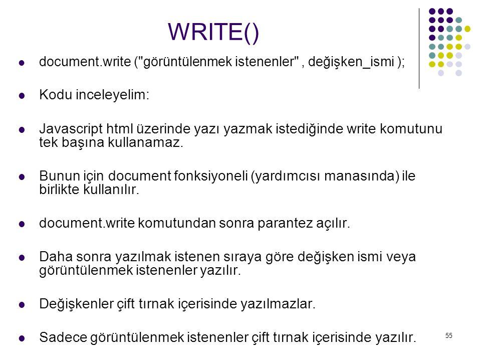 WRITE() Kodu inceleyelim: