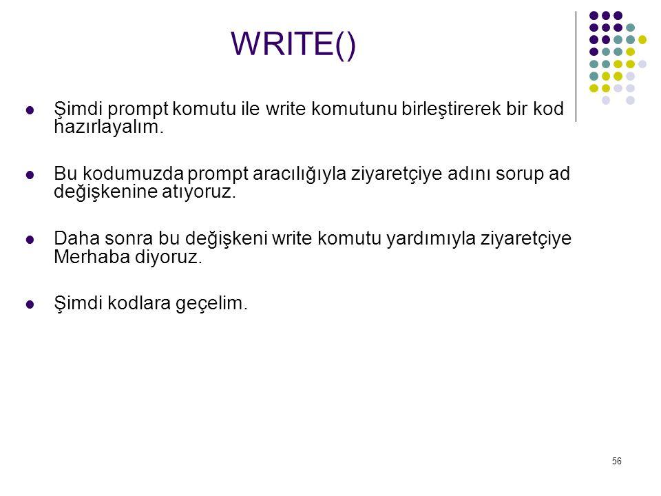 WRITE() Şimdi prompt komutu ile write komutunu birleştirerek bir kod hazırlayalım.