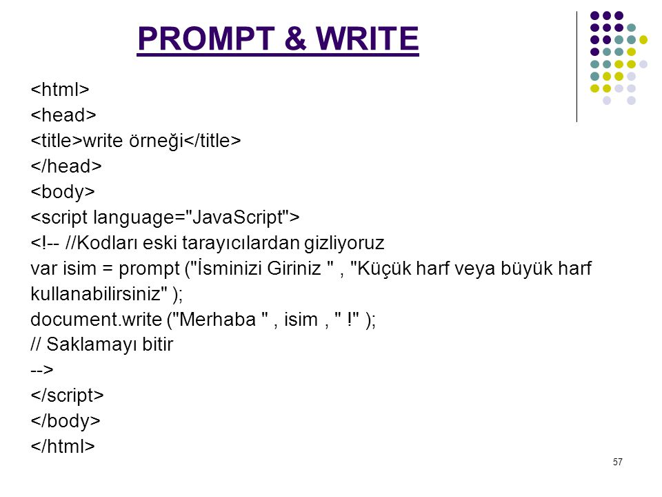 PROMPT & WRITE <html> <head>
