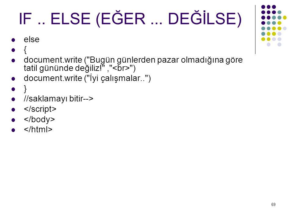 IF .. ELSE (EĞER ... DEĞİLSE) else {