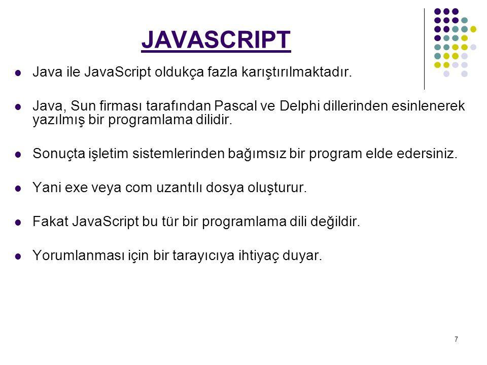 JAVASCRIPT Java ile JavaScript oldukça fazla karıştırılmaktadır.
