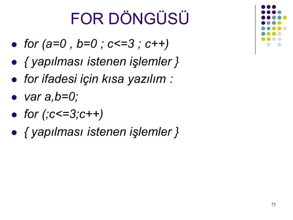 FOR DÖNGÜSÜ for (a=0 , b=0 ; c<=3 ; c++)