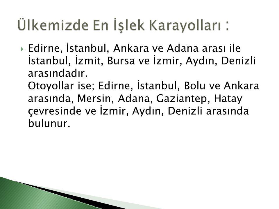 Ülkemizde En İşlek Karayolları :