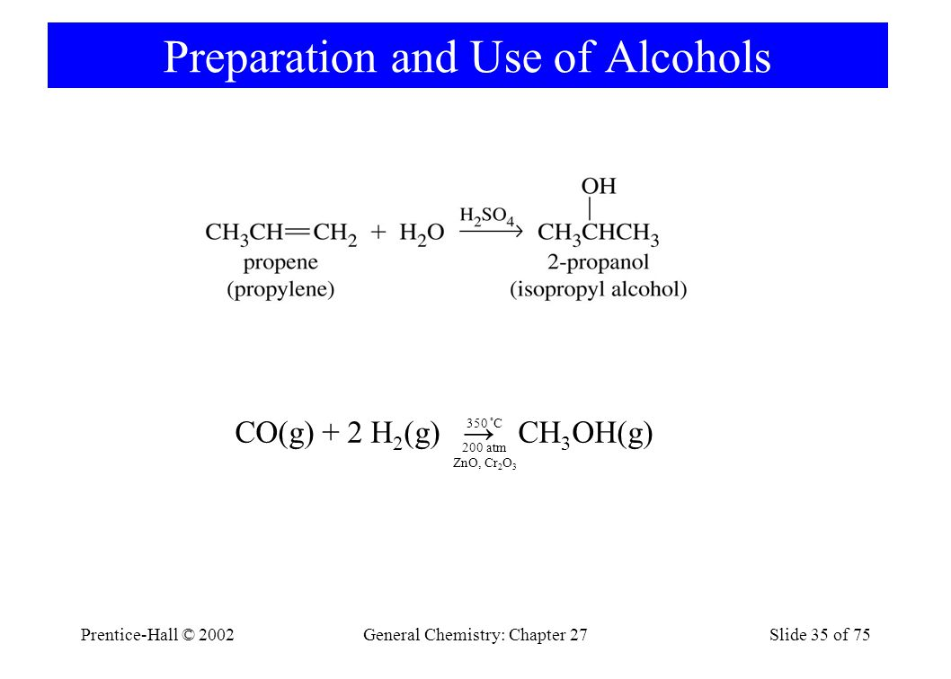 Preparation and Use of Alcohols