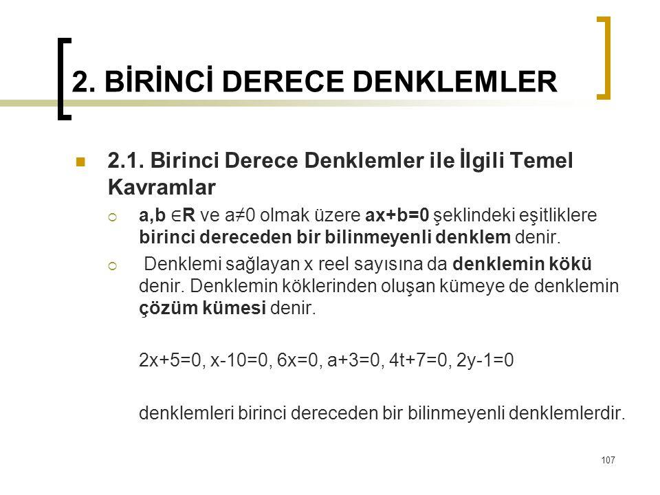 2. BİRİNCİ DERECE DENKLEMLER