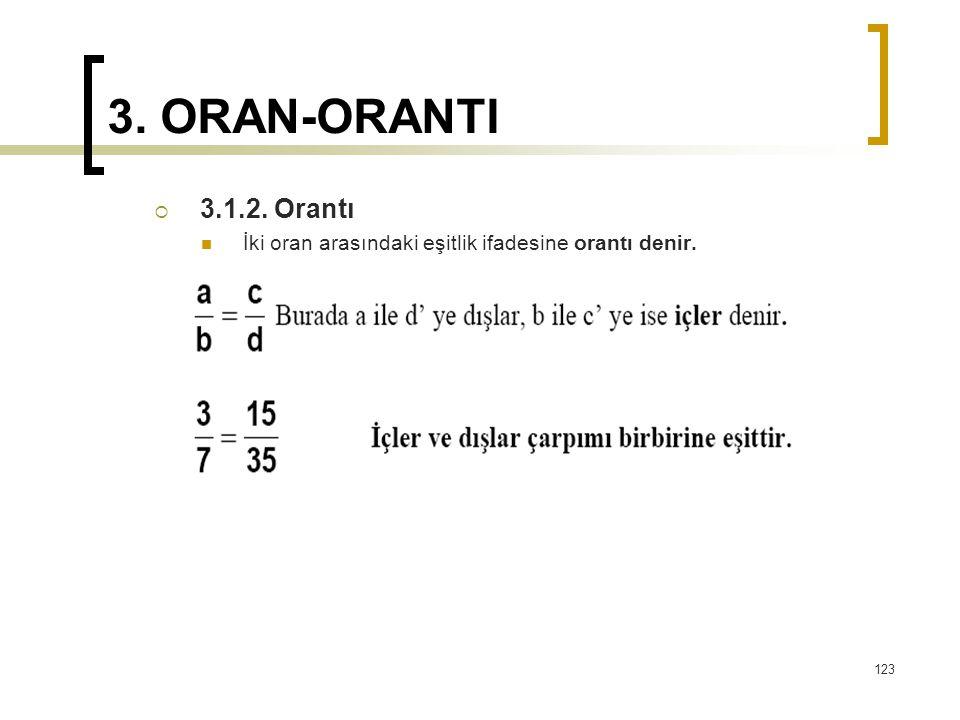 3. ORAN-ORANTI 3.1.2. Orantı İki oran arasındaki eşitlik ifadesine orantı denir.