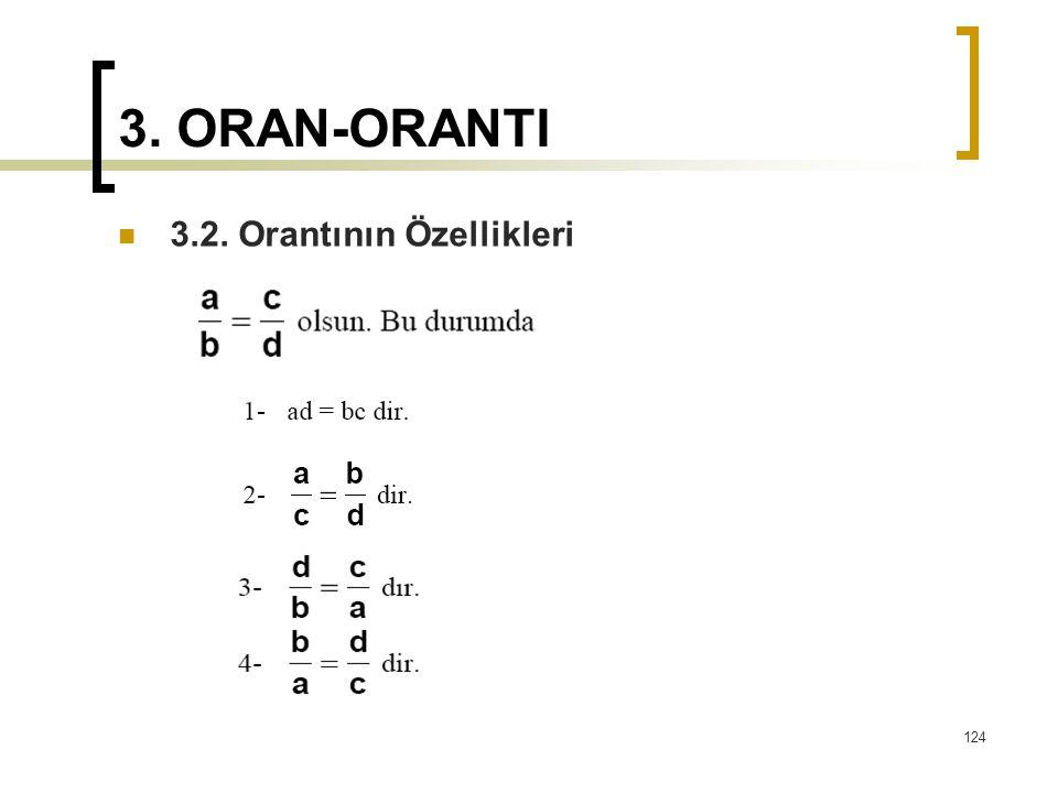 3. ORAN-ORANTI 3.2. Orantının Özellikleri