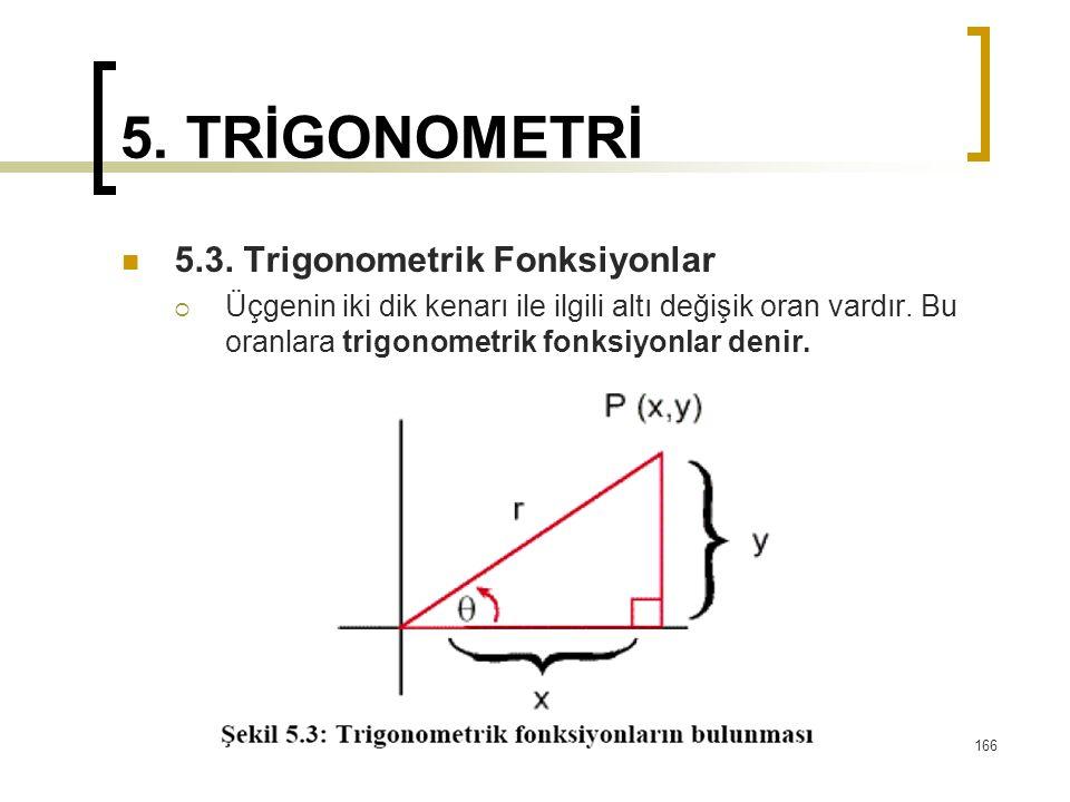 5. TRİGONOMETRİ 5.3. Trigonometrik Fonksiyonlar