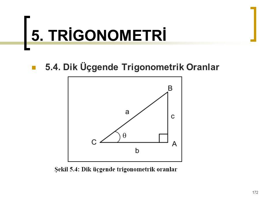 5. TRİGONOMETRİ 5.4. Dik Üçgende Trigonometrik Oranlar