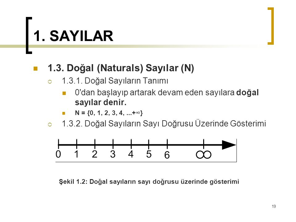 1. SAYILAR 1.3. Doğal (Naturals) Sayılar (N)