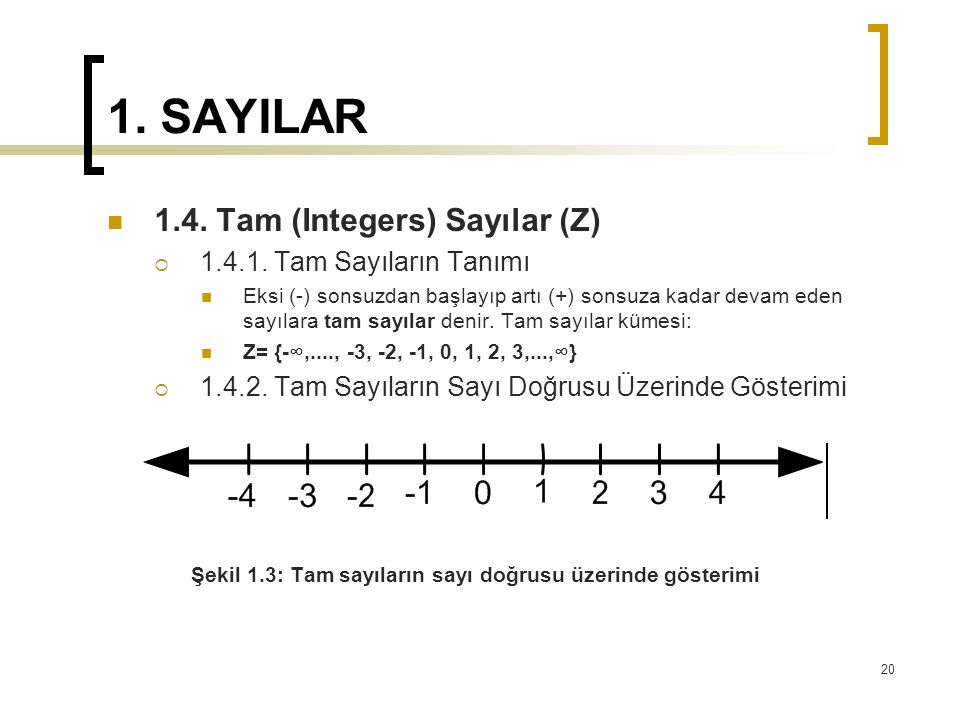 1. SAYILAR 1.4. Tam (Integers) Sayılar (Z) 1.4.1. Tam Sayıların Tanımı