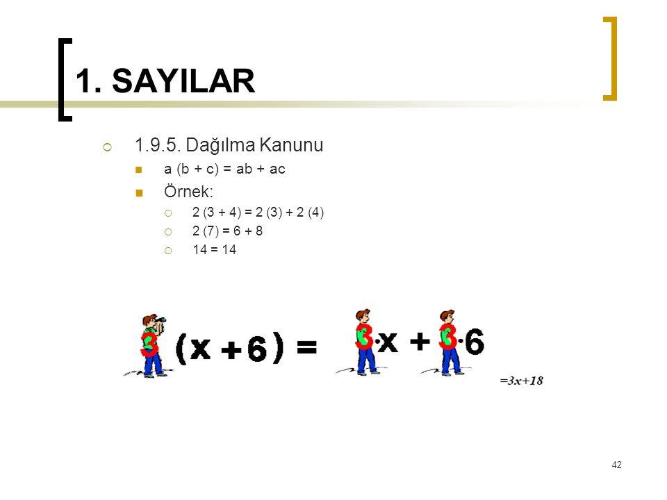 1. SAYILAR 1.9.5. Dağılma Kanunu Örnek: a (b + c) = ab + ac