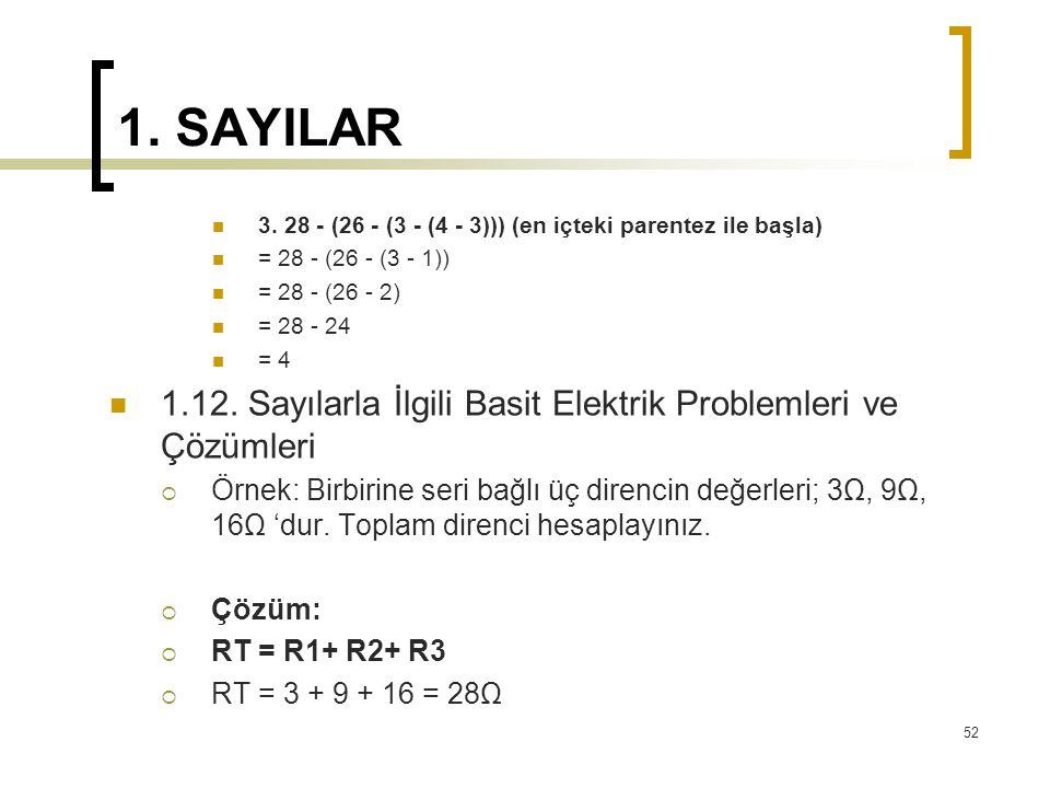 1. SAYILAR 3. 28 - (26 - (3 - (4 - 3))) (en içteki parentez ile başla) = 28 - (26 - (3 - 1)) = 28 - (26 - 2)