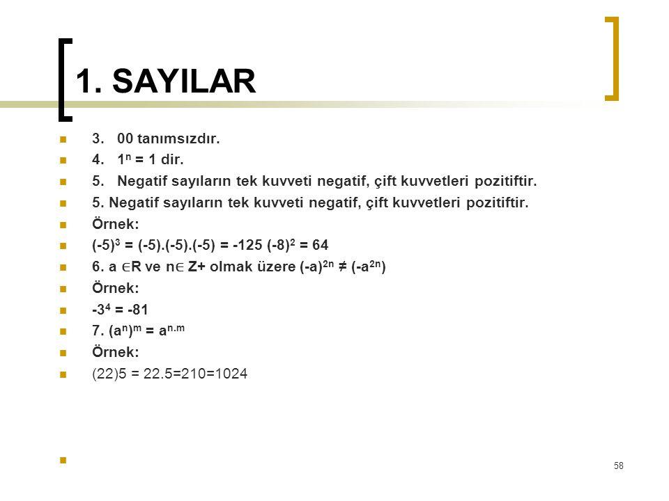 1. SAYILAR 3. 00 tanımsızdır. 4. 1n = 1 dir.