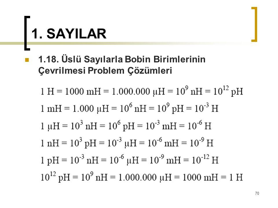1. SAYILAR 1.18. Üslü Sayılarla Bobin Birimlerinin Çevrilmesi Problem Çözümleri