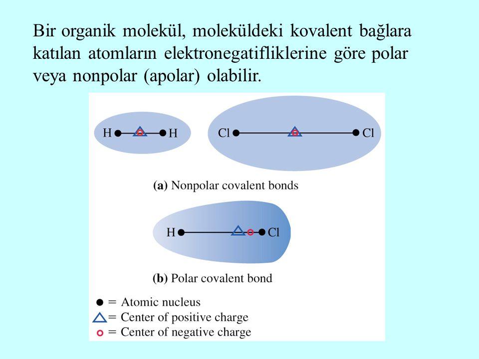 Bir organik molekül, moleküldeki kovalent bağlara katılan atomların elektronegatifliklerine göre polar veya nonpolar (apolar) olabilir.
