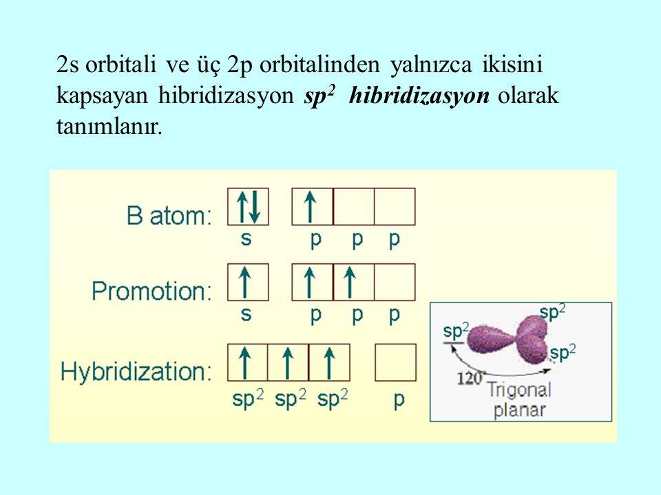 2s orbitali ve üç 2p orbitalinden yalnızca ikisini kapsayan hibridizasyon sp2 hibridizasyon olarak tanımlanır.