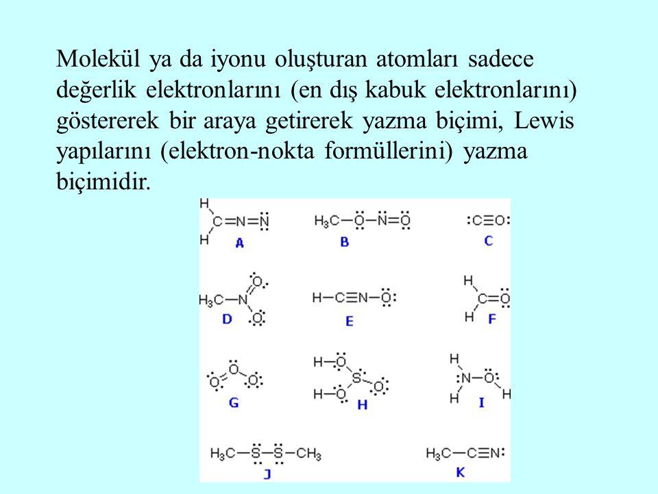 Molekül ya da iyonu oluşturan atomları sadece değerlik elektronlarını (en dış kabuk elektronlarını) göstererek bir araya getirerek yazma biçimi, Lewis yapılarını (elektron-nokta formüllerini) yazma biçimidir.