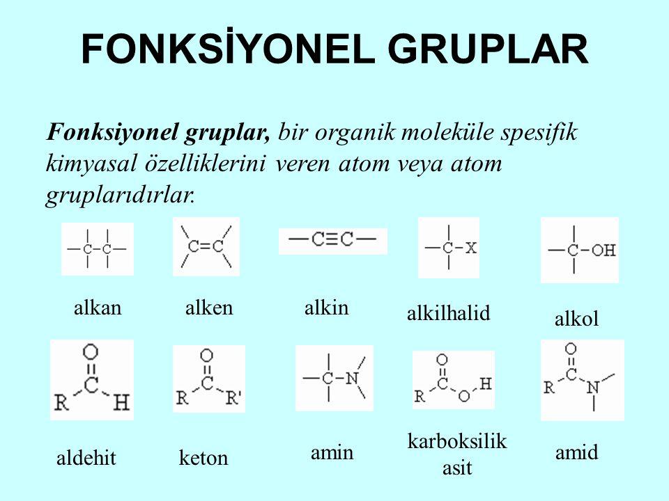 FONKSİYONEL GRUPLAR Fonksiyonel gruplar, bir organik moleküle spesifik kimyasal özelliklerini veren atom veya atom gruplarıdırlar.