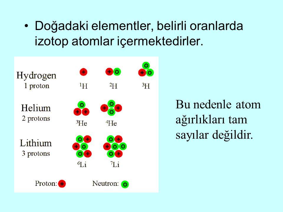 Doğadaki elementler, belirli oranlarda izotop atomlar içermektedirler.