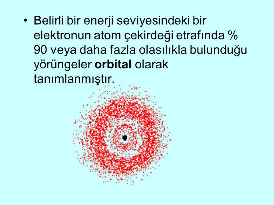 Belirli bir enerji seviyesindeki bir elektronun atom çekirdeği etrafında % 90 veya daha fazla olasılıkla bulunduğu yörüngeler orbital olarak tanımlanmıştır.