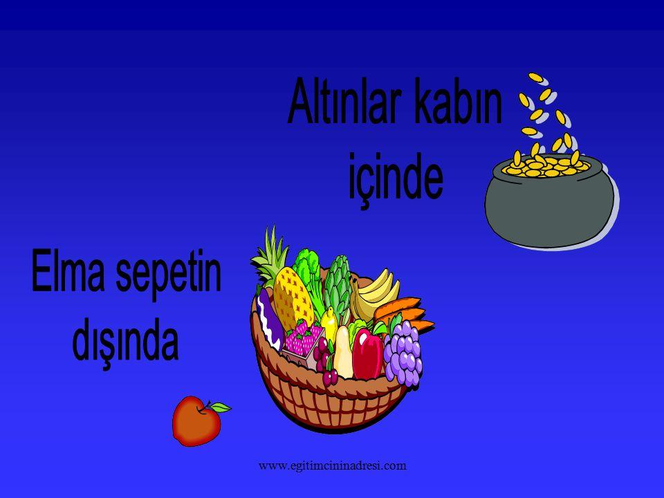 Altınlar kabın içinde Elma sepetin dışında www.egitimcininadresi.com