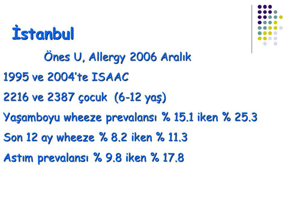 İstanbul Önes U, Allergy 2006 Aralık 1995 ve 2004'te ISAAC
