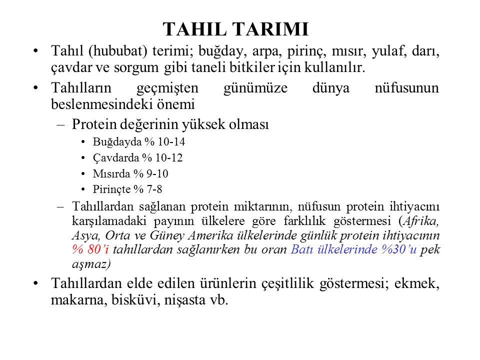 TAHIL TARIMI Tahıl (hububat) terimi; buğday, arpa, pirinç, mısır, yulaf, darı, çavdar ve sorgum gibi taneli bitkiler için kullanılır.
