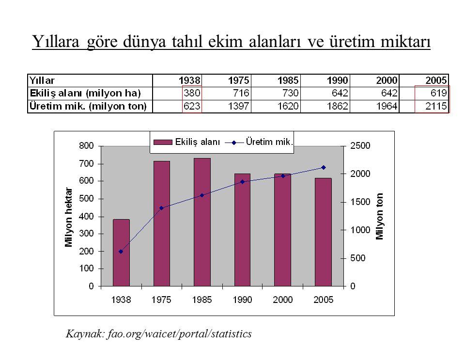 Yıllara göre dünya tahıl ekim alanları ve üretim miktarı