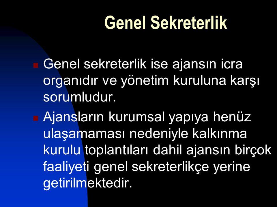Genel Sekreterlik Genel sekreterlik ise ajansın icra organıdır ve yönetim kuruluna karşı sorumludur.