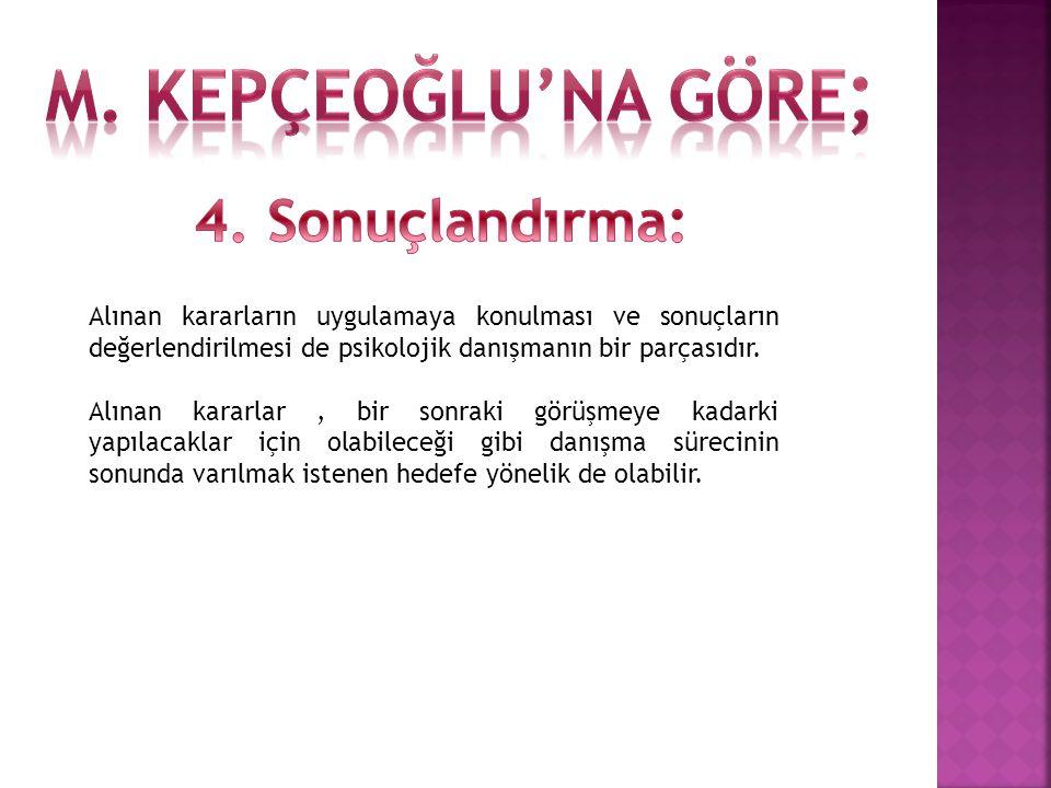 M. Kepçeoğlu'na göre; 4. Sonuçlandırma:
