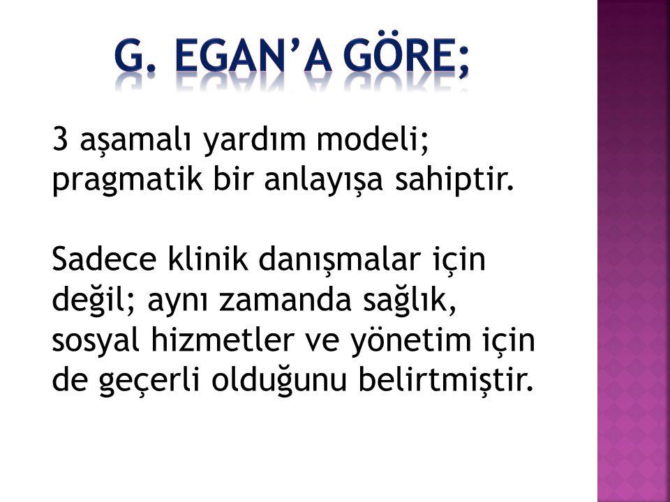 G. egan'a göre; 3 aşamalı yardım modeli; pragmatik bir anlayışa sahiptir.