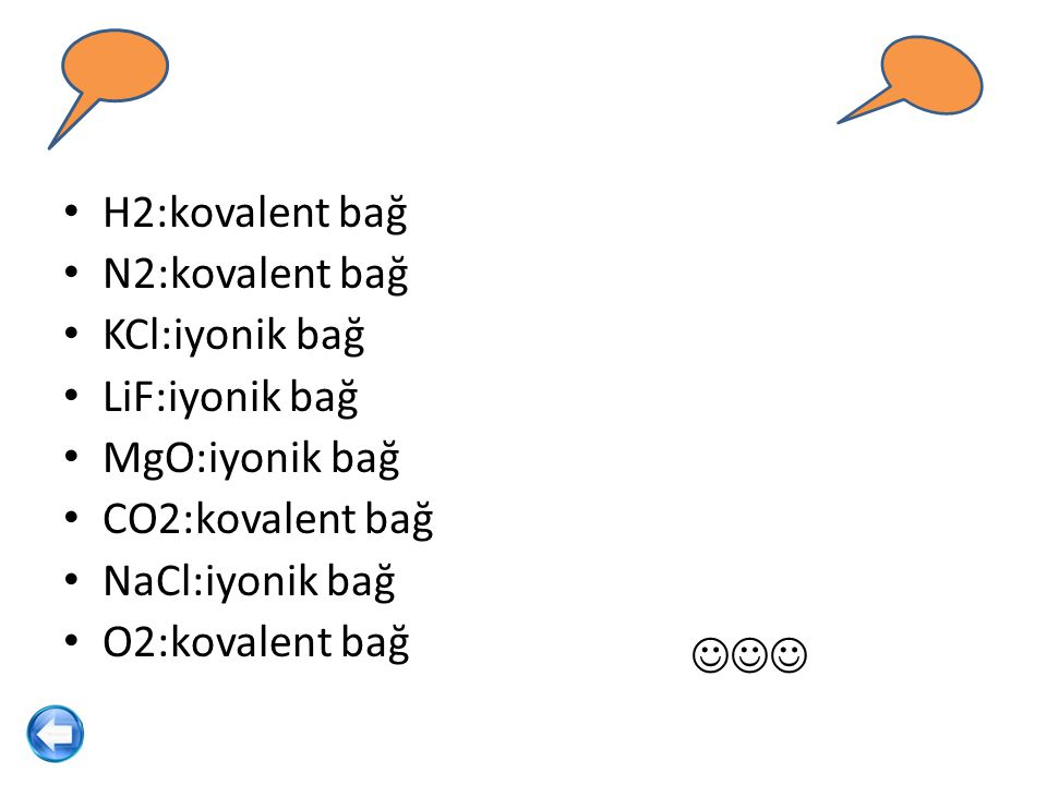 H2:kovalent bağ N2:kovalent bağ. KCl:iyonik bağ. LiF:iyonik bağ. MgO:iyonik bağ. CO2:kovalent bağ.