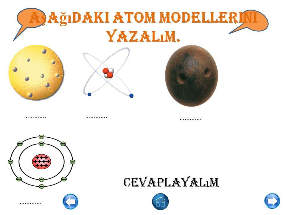 Aşağıdaki atom modellerini yazalım.