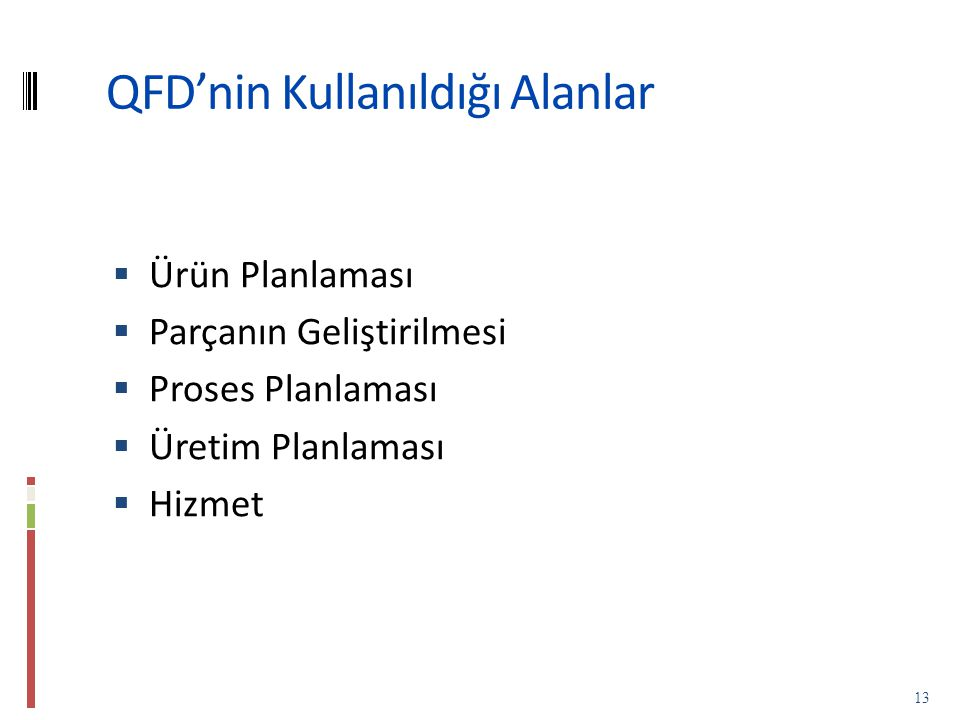 QFD'nin Kullanıldığı Alanlar