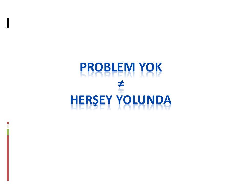 PROBLEM YOK ≠ HERŞEY YOLUNDA